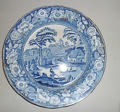 Antique Tin Glazed Blue and White Plate