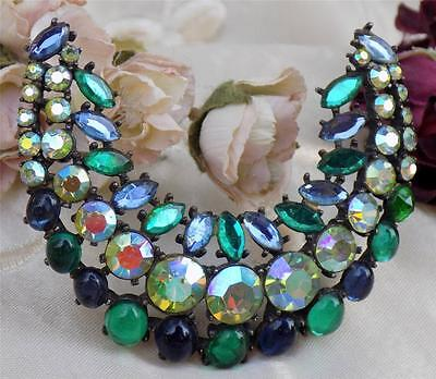 Gorgeous Huge Vtg Signed Art Rhinestone Crescent Brooch Green/blue Ab Chatons
