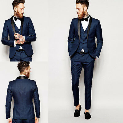 New Men Suits Navy Blue Slim Fit Groom Formal Wedding Suits Tuxedos Custom Made