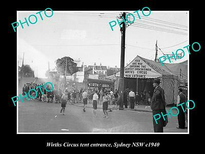 OLD LARGE HISTORIC PHOTO OF WIRTHS CIRCUS TENT ENTRANCE, SYDNEY NSW c1940s 2
