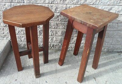 Antique PAIR of TEAK Stools PLANT STAND Side Table END TABLE Cottage Country