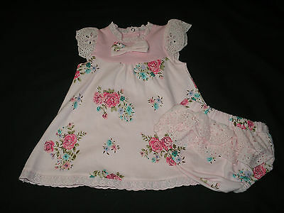 Baby Girl Clothes Dress and Knickers pink Floral Rock a bye baby 0-9 months New