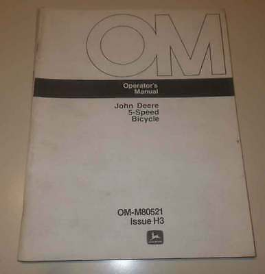 John Deere 5 Speed Bicycle Operators Manual. Original English and French version
