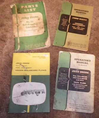 John Deere Vintage Operators Manual lot #3. Originals disk tillers, 55 combine