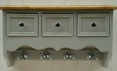 Shabby chic vintage hat rack / coat hook shelf with 3 drawers wall unit in grey