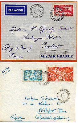 INDOCHINE Lot de 4 lettres 1933/1948