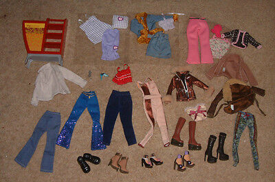 Barbie MY SCENE Clothes & Shoes BUNDLE some brand new + shelf unit