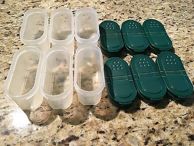 TUPPERWARE Short modular mates spice containers 1/2c. capacity 6/GREEN LIDS