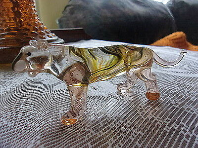 Glass Statue Maybe A Mountain Lion (Miniature) Roughly 4 3/4 Inches Long