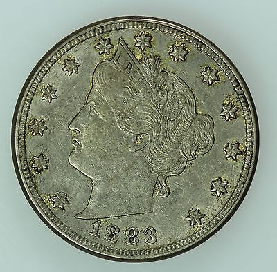 1883 Liberty Head Nickel! Au Details! With Cents! 5C! Us Coin Lot #383