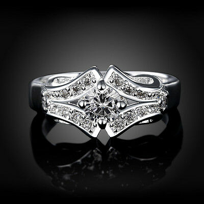 Fashion Women 925 Silver Jewelry Filled Wedding Crystal Band Ring Size 9/R
