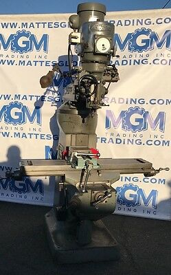 "Bridgeport Milling Machine 9"" X 42"" 2HP Variable Speed w/ Vise & Collets"