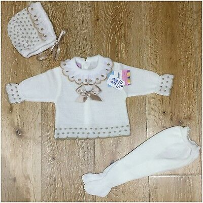 Girls white and beige Spanish knitted  set