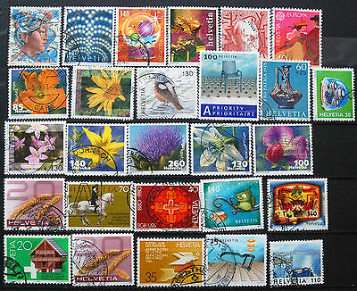 Fine Collection of Different Used Swiss Stamps, Recent Switzerland Issues.