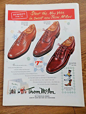 1951 Thom McAn Shoe Shoes Ad  Resolve for '52 Start the New Year in Smart New
