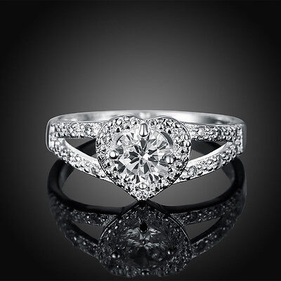 Crystal Womens 925 Silver Heart Band Ring for women Wedding Jewelry Size 5