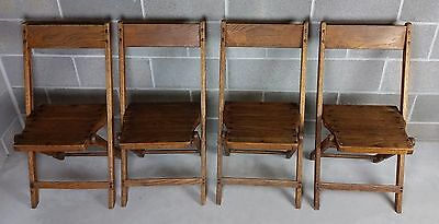 Classic Vintage Wood Folding Chairs Set of 4