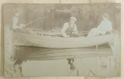 Postcard - Vintage, Two Men Fishing in Canoe with Lady. Edwardian?