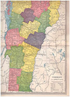 1904 color map Vermont. 9 by 12