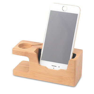 Bamboo Charger Holder Stand Charging Dock Station For Apple Watch iWatch iPhone
