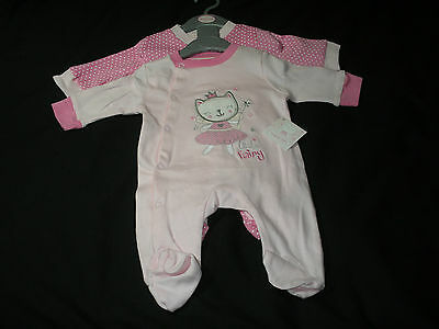 Baby girl clothes 2 pack sleepsuit all in one pink cotton NB 0-3mths 3-6mths 6-9