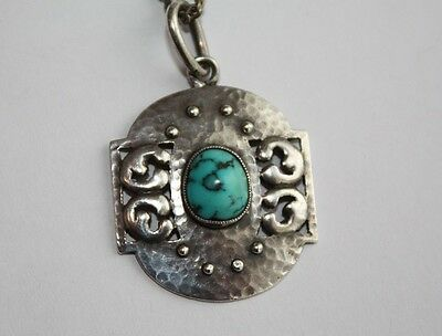 c1900 signed  MURRLE BENNETT Arts and Crafts hammered silver & turquoise pendant