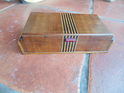 Vintage Art Deco Cigarette Box Treen Wood with Inlay Bakelite? Handle