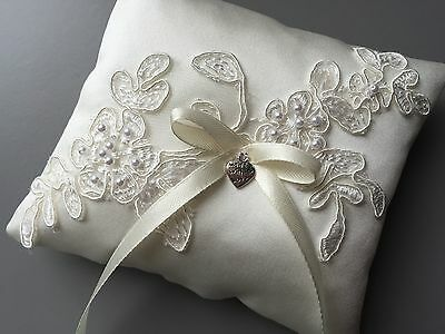 Fab Ivory Wedding Ring Pillow Cushion Holder Bearer Beaded Lace Bow Heart Pocket