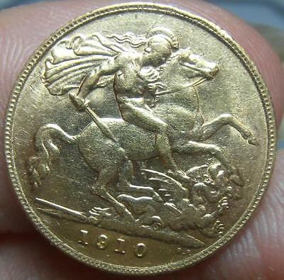King Edward Vii 22 Ct Gold Half Sovereign Coin Dated 1910