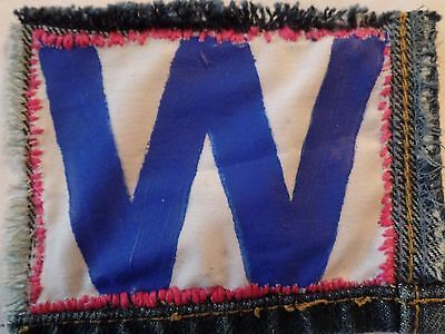 Chicago Cubs Wave the W Patch Denim Hand Made Pink Spring Training Fan Art Sale