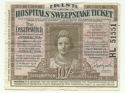1938 Irish Hospitals Sweepstake Ticket Numbered Cesarewitch Run at Newmarket