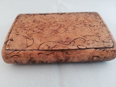 Antique Victorian Table Snuff Box In Rare Curly Birch Wood : Cigar Wallets/cases