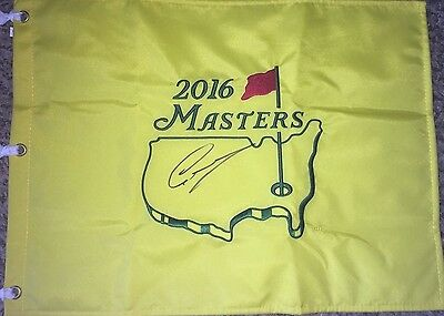 Shark Greg Norman Autographed 2016 Masters Flag In The Center Rare Piece Signed
