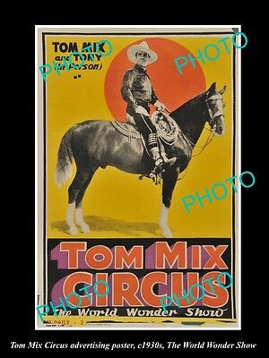 OLD LARGE HISTORIC PHOTO OF COWBOY TOM MIX CIRCUS ADVERTISING POSTER c1930 7