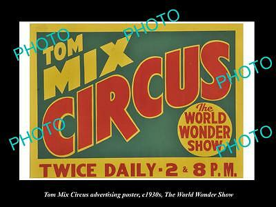 OLD LARGE HISTORIC PHOTO OF COWBOY TOM MIX CIRCUS ADVERTISING POSTER c1930 2