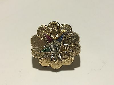 Order of the Eastern Star Ring - 10k  Gold Syn. Gemstones & Diamond OES