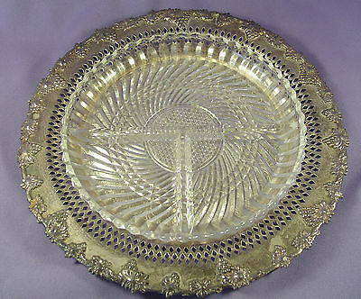 """Vtg Wm A Rogers Etched 9.75"""" Silver Plate Grapes + Pressed Glass 3-Section Dish"""