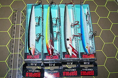 RAPALA FISHING LURES LOT OF 4, F-11 ORIGINAL FLOATING MINNOWS Barra, Trout, Cod.