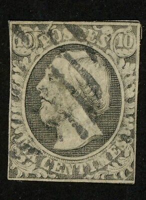 1852 Luxembourg Stamp #1, 10c gray black, Used H