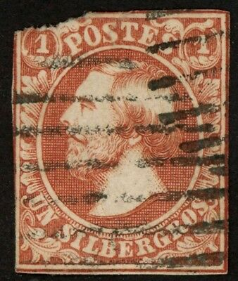 1852 Luxembourg Stamp #2, 1 sg brown red, Used H