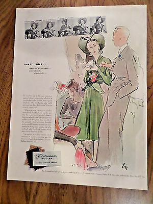 1940 Forstmann Woolen Fashion Ad Party Lines