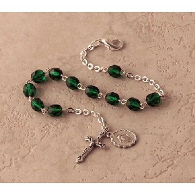 Birthstone Rosary Braclet (May) Emerald Rb65May