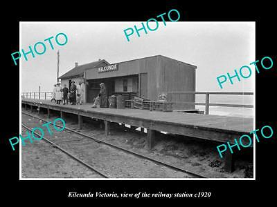 OLD LARGE HISTORIC PHOTO OF KILCUNDA VICTORIA, VIEW OF THE RAILWAY STATION c1920