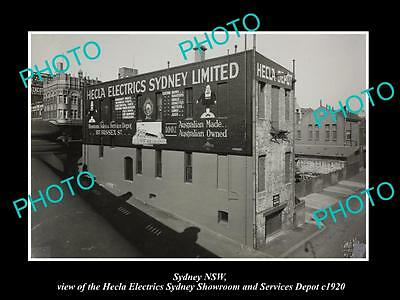 OLD LARGE HISTORIC PHOTO OF SYDNEY NSW, THE HECLA ELECTRICS STORE & DEPOT c1920