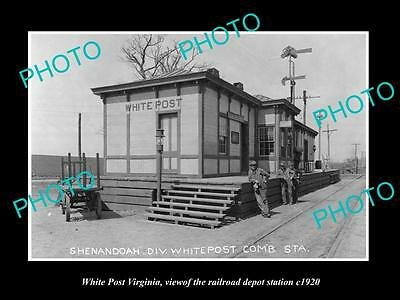 OLD LARGE HISTORIC PHOTO OF WHITE POST VIRGINIA THE RAILROAD DEPOT STATION c1920