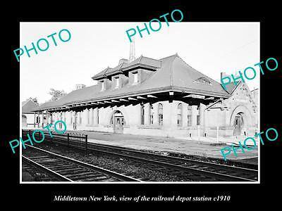 OLD LARGE HISTORIC PHOTO OF MIDDLETOWN NEW YORK THE RAILROAD DEPOT STATION c1910