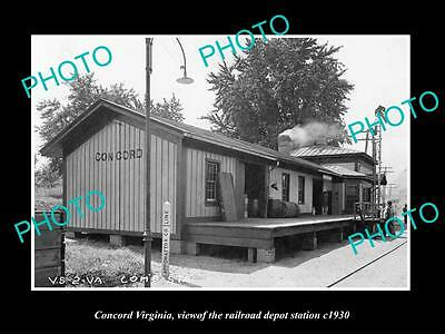 OLD LARGE HISTORIC PHOTO OF CONCORD VIRGINIA, THE RAILROAD DEPOT STATION c1930