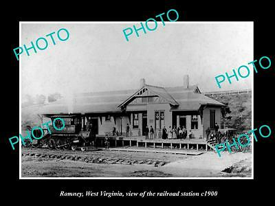 OLD LARGE HISTORIC PHOTO OF ROMNEY WEST VIRGINIA, THE RAILROAD STATION c1900