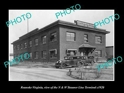 OLD LARGE HISTORIC PHOTO OF ROANOKE VIRGINIA, THE STEAMER LINE TERMINAL c1920