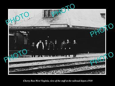 OLD LARGE HISTORIC PHOTO OF CHERRY RUN WEST VIRGINIA, THE RAILROAD STATION c1910
